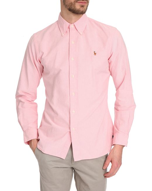 Polo ralph lauren slim fit pink oxford shirt in pink for for Pink oxford shirt men