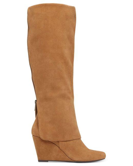 rallie cuffed wedge boots in brown dakota
