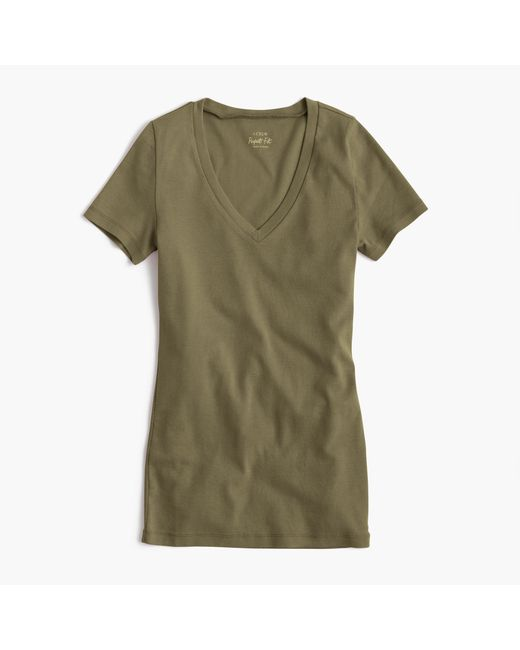 perfect fit v neck t shirt in green olive moss