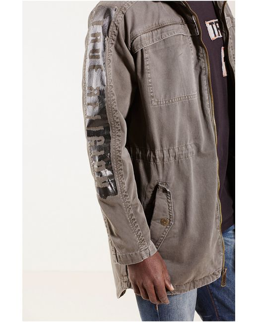 true religion military parka mens jacket in beige for men. Black Bedroom Furniture Sets. Home Design Ideas