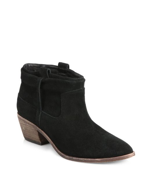joie ajax suede ankle boots in black lyst