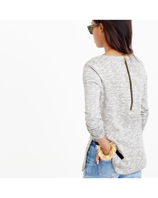 J.Crew | Gray Sweatshirt With Side Slits | Lyst