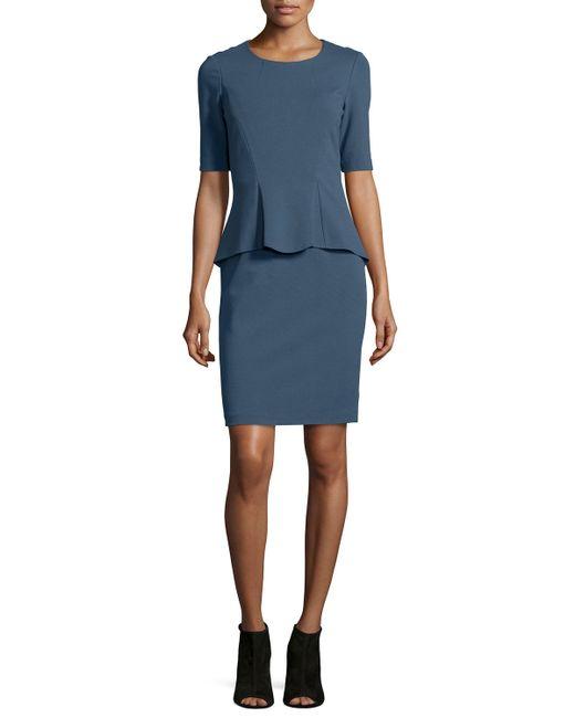 Lafayette 148 New York | Blue Sheath Dress W/ Front Peplum | Lyst