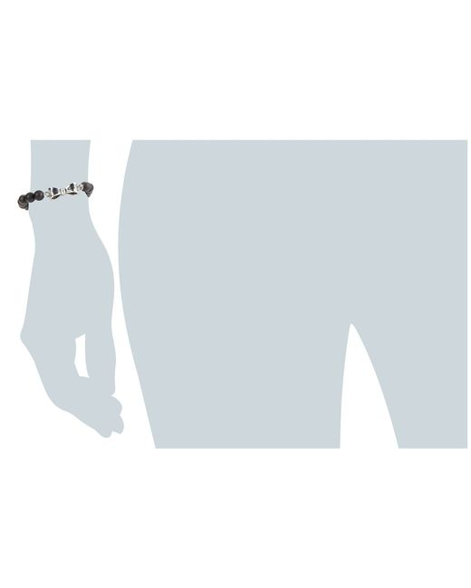 King Baby Studio   Black 8mm Onyx Bead Bracelet W/ Silver Bow   Lyst