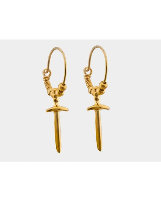 i+i | Metallic Sword Hoop Earrings In Gold Vermeil | Lyst