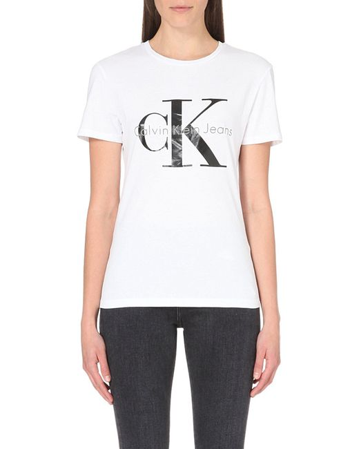 Calvin Klein   White Logo-print Cotton-jersey T-shirt   Lyst