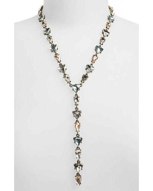 BaubleBar | Metallic 'ynez' Y-chain Necklace - Clear/ Antique Gold | Lyst