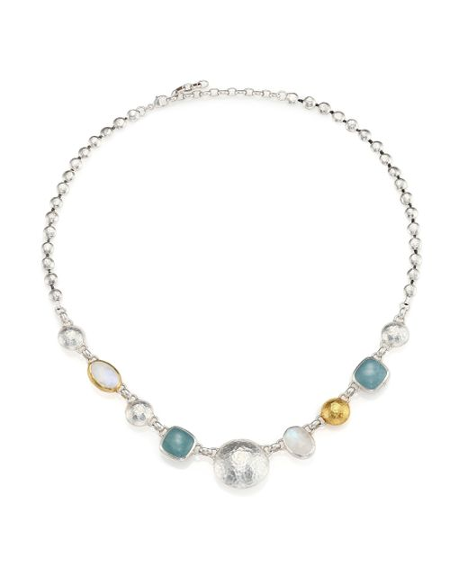 Gurhan | Metallic Lentil Semi-precious Multi-stone 24k Yellow Gold & Sterling Silver Storm Necklace | Lyst