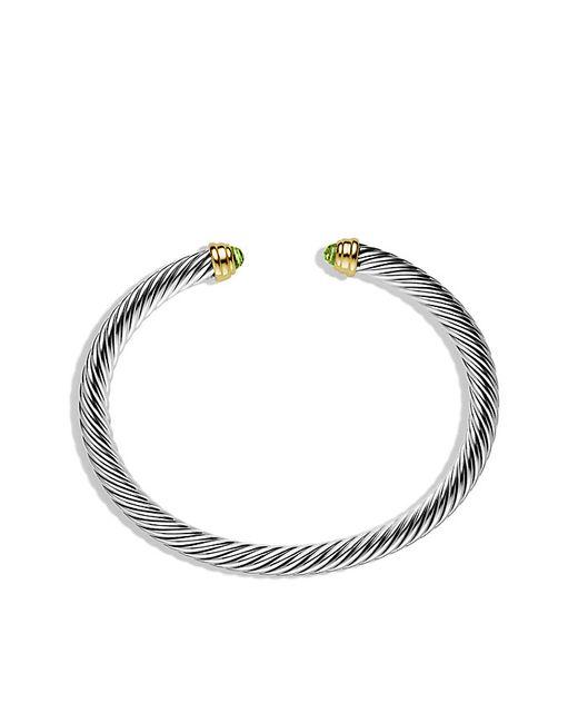 David Yurman | Metallic Cable Classics Bracelet With Peridot And 14k Gold, 5mm | Lyst