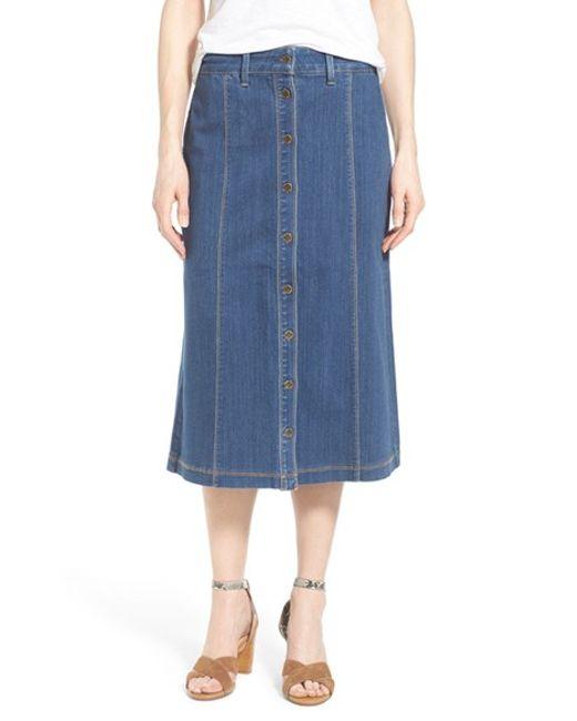 nydj button front denim midi skirt in blue