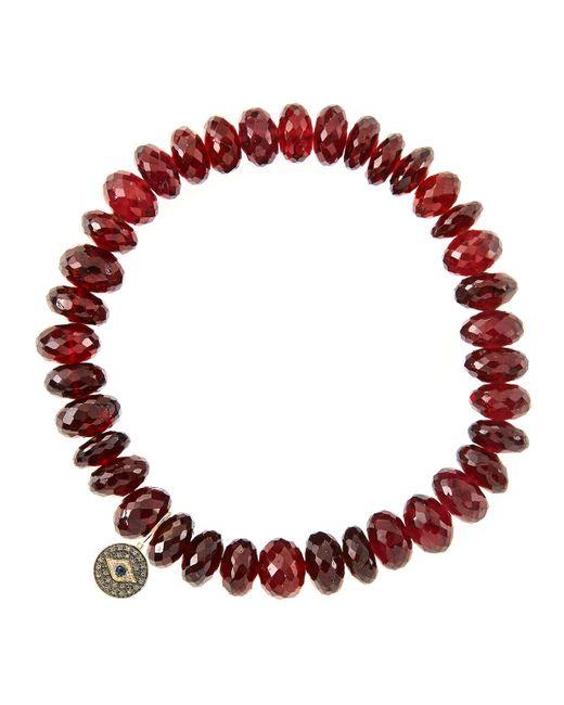 Sydney Evan | Red 8Mm Faceted Garnet Beaded Bracelet With 14K Gold/Diamond Round Evil Eye Charm (Made To Order) | Lyst