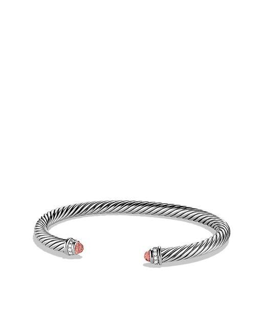 David Yurman   Metallic Cable Classics Bracelet With Morganite And Diamonds, 5mm   Lyst