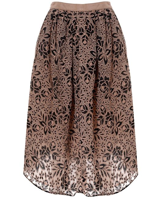 true decadence embroidered midi skirt in pink multi