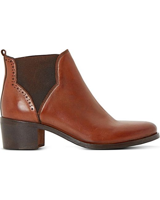 dune parnell leather ankle boots in brown leather lyst