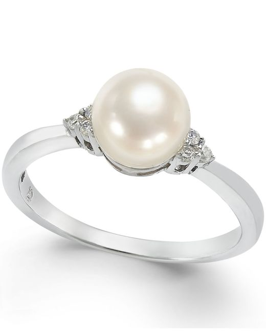 Macy's | Cultured Freshwater Pearl (7mm) And Diamond Accent Ring In 14k White Gold | Lyst