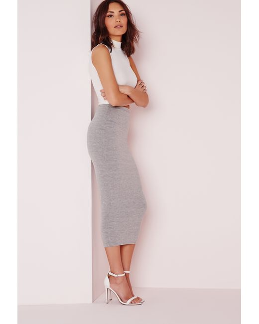missguided longline jersey midi skirt grey in gray grey