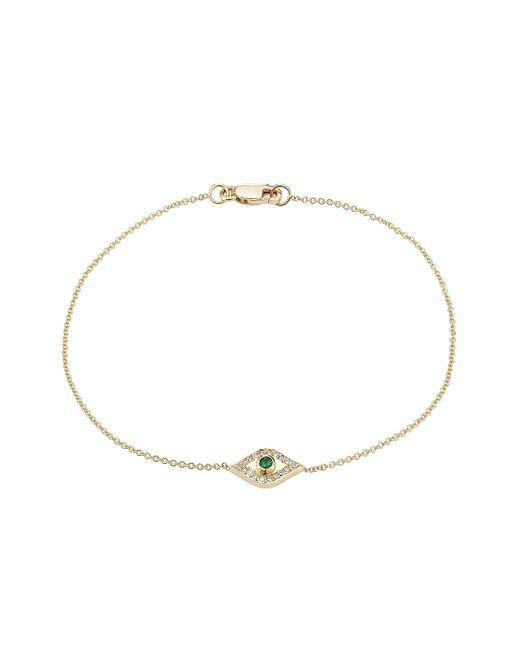 Ileana Makri | Metallic 18kt Gold Bracelet With White Diamonds And Tsavorite | Lyst