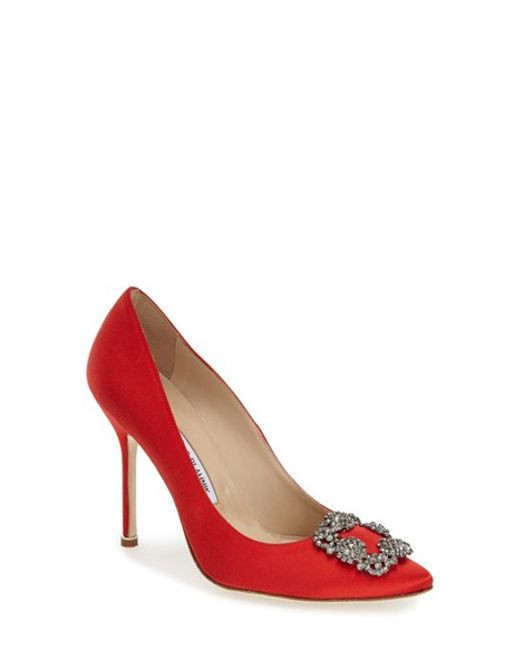 Manolo Blahnik | Red 'Hangisi' Jeweled Pump | Lyst