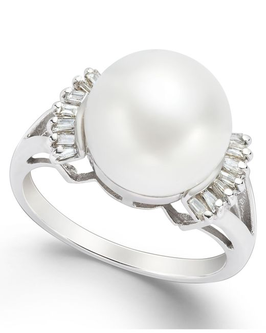 Macy's   Metallic Cultured Freshwater Pearl (11mm) And Diamond (1/5 Ct. T.w.) Ring In 14k White Gold   Lyst