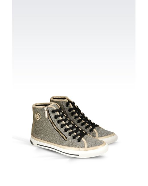 armani jeans high top sneaker in fabric in gold lyst. Black Bedroom Furniture Sets. Home Design Ideas