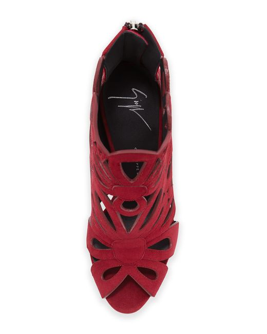 Giuseppe Zanotti | Red Floral Cut-Out Suede Booties | Lyst