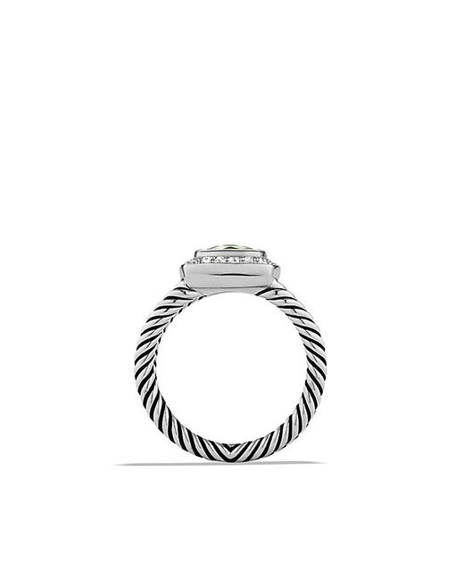 David Yurman | Metallic Petite Albion Ring With Prasiolite And Diamonds | Lyst