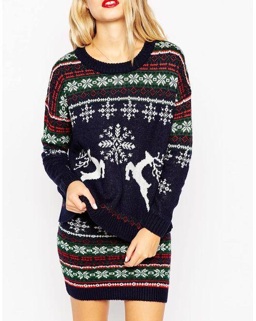ASOS   Multicolor Co-ord Christmas Jumper In Reindeer Fair Isle   Lyst