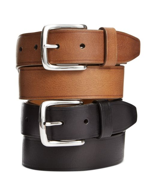 cole haan buff harness leather belt in brown for