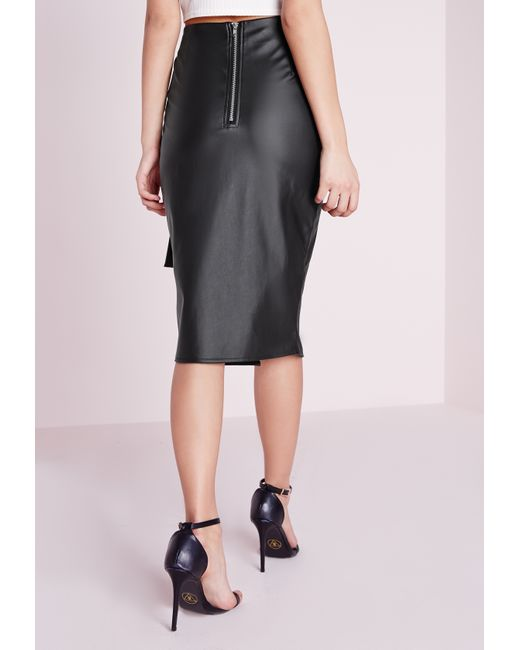 missguided tie waist faux leather midi skirt black in