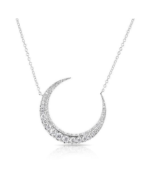 Anne Sisteron - 14kt White Gold Luxe Diamond Lunar Necklace - Lyst
