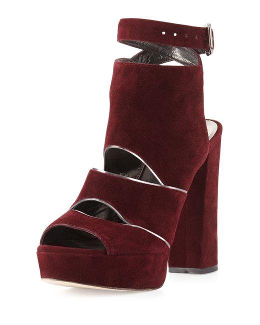 Stuart Weitzman | Purple Splits Suede Platform Sandals | Lyst
