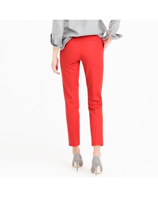 J.Crew | Red Martie Pant In Bi-stretch Cotton | Lyst