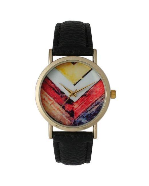 Olivia pratt Women's Leather Paint Stripe Chevron Watch in ...