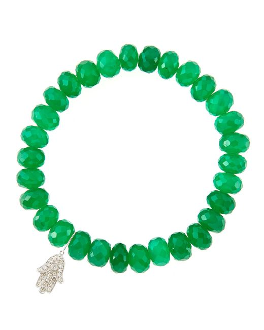 Sydney Evan | 8Mm Faceted Green Onyx Beaded Bracelet With 14K Gold/Diamond Medium Ladybug Charm (Made To Order) | Lyst