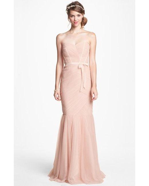 Monique Lhuillier Bridesmaids | Pink Strapless Tulle Trumpet Dress | Lyst