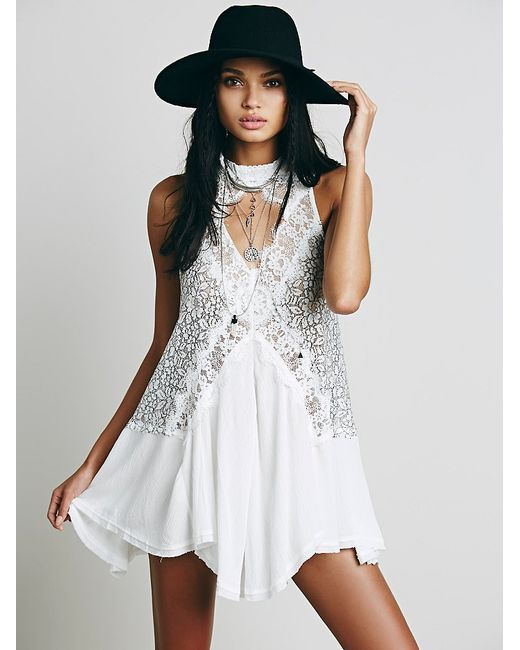 Free People | White Cross My Heart In Lace Tunic | Lyst