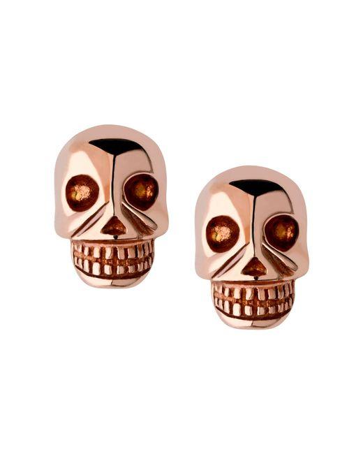 Links of London | Metallic Rose Gold Vermeil Mini Skull Stud Earrings | Lyst