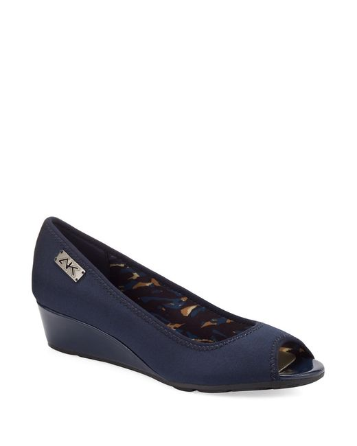 Anne Klein | Blue Camrynne Peep Toe Wedges | Lyst