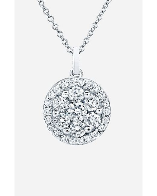 Bony Levy | White Flower Button Diamond Pendant Necklace (nordstrom Exclusive) | Lyst