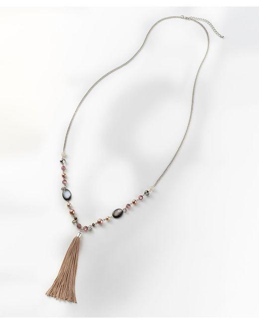 DAMART - Metallic Tassel Pendant Necklace - Lyst