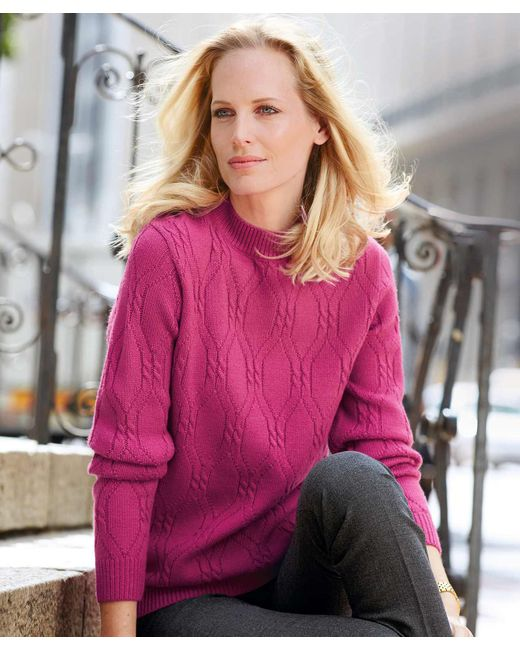 DAMART - Pink Cable Knit Sweater - Lyst