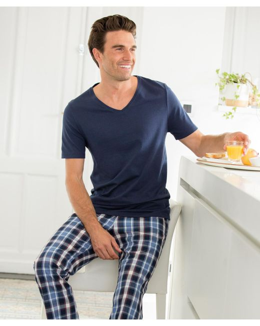 DAMART - Blue V-neck T-shirt for Men - Lyst