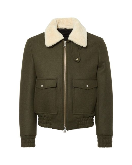 AMI Green Zipped Jacket With Shearling Collar H17Ow014.210 for men