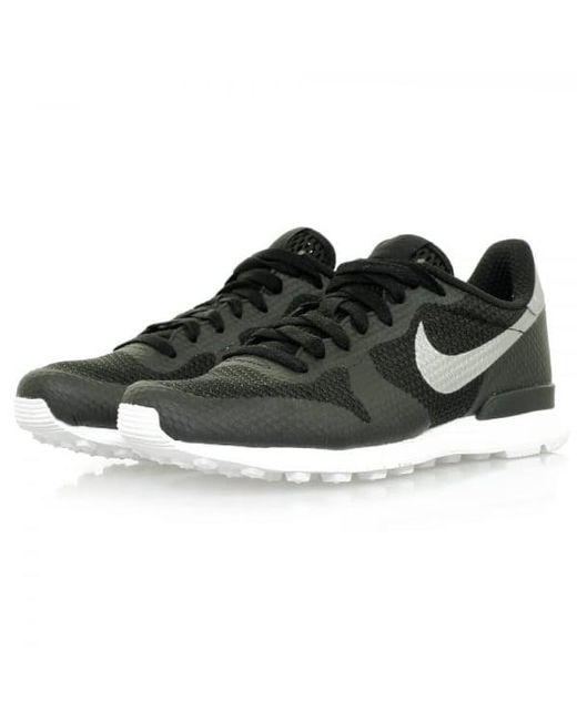 nike internationalist shoes - black/metallic silver