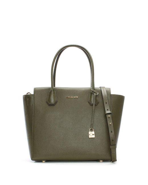 Michael Kors   Green Mercer Large Olive Leather Satchel Bag   Lyst
