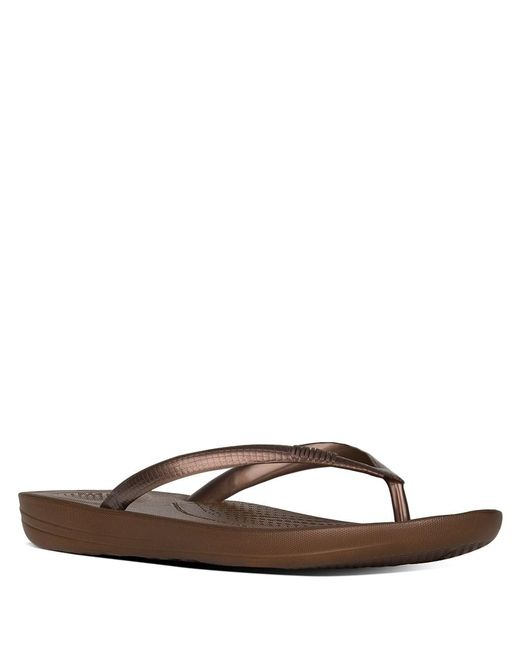 726b646a9 ... Fitflop - Brown Iqushion Bronze Toe Post Flip Flops - Lyst ...