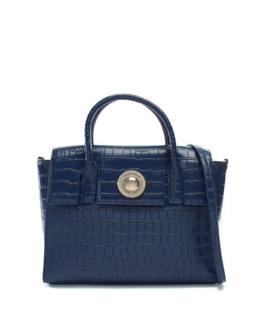 Versace Jeans | Blue Plaque Navy Moc Croc Satchel Bag | Lyst