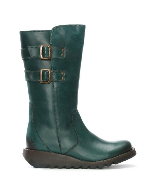 Fly London - Green Suli Petrol Leather Wedge Low Knee Boots - Lyst