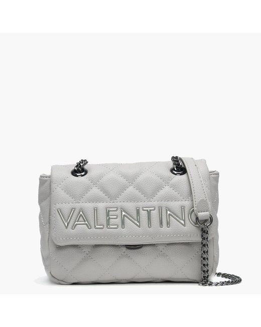 Valentino By Mario Valentino - Gray Small Licia Grey Quilted Logo Cross-body Bag - Lyst
