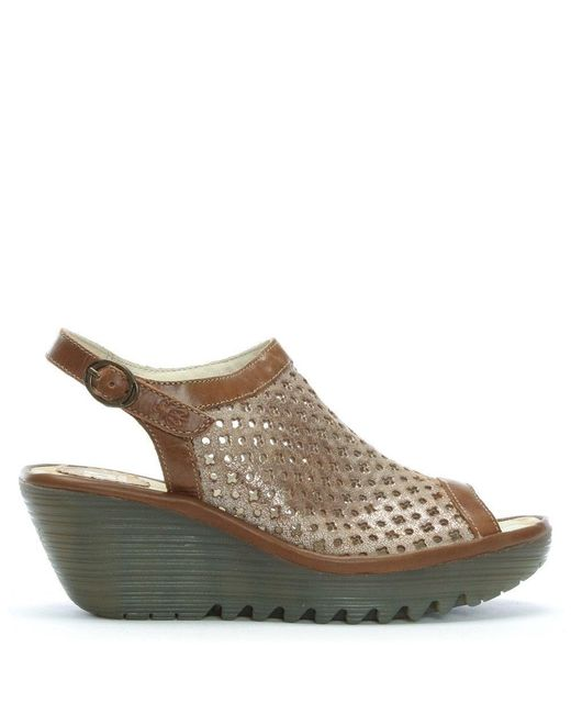 Fly London Yuti Luna & Camel Leather Perforated Wedge